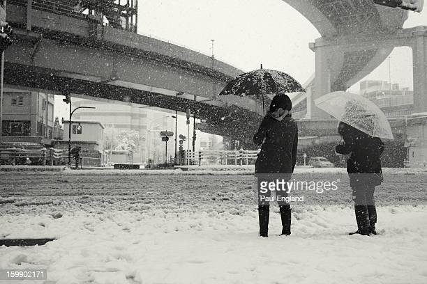 CONTENT] Two women wait for a traffic light in miserable conditions during a snow storm in Tokyo