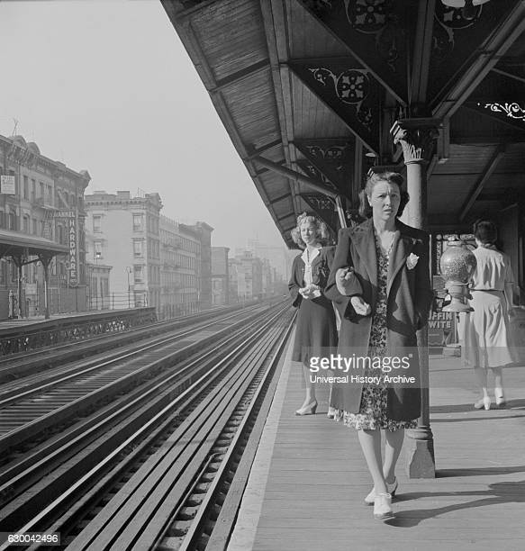 Two Women Waiting for the Third Avenue Elevated Railway about 845am New York City New York USA Marjorie Collins for Office of War Information...