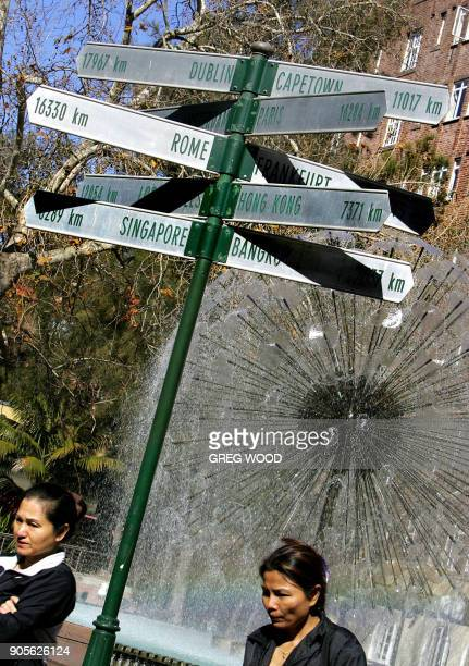 Two women walk past a fountain and signpost showing distances to some of the world's major cities 16 August 2005 in the popular Kings Cross tourist...