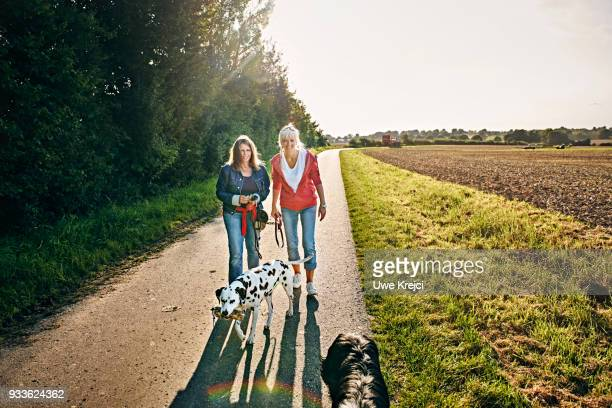 Two women walk their dogs together