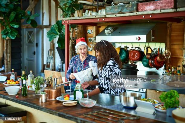 two women washing dishes and chatting at christmas - cleaning after party bildbanksfoton och bilder