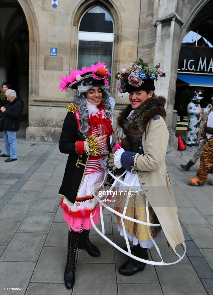 Two women wearing a colourful pirate costume are seen in the Munich Carnival, in Munich, Germany, on 13 February, 2018.
