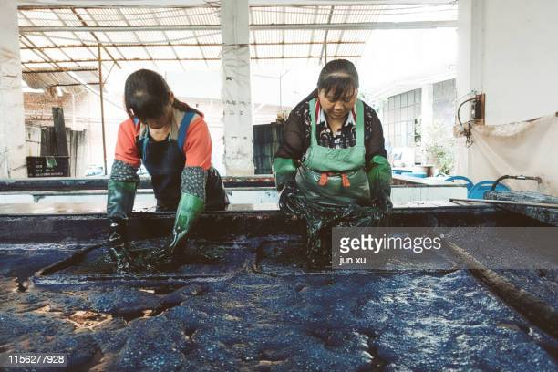 two women workers dyeing in a dyeing pool - dye stock pictures, royalty-free photos & images