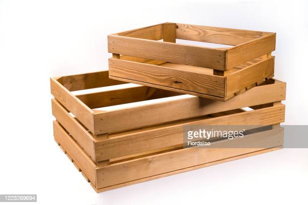 two wooden box from pine boards for storing - crate stock pictures, royalty-free photos & images