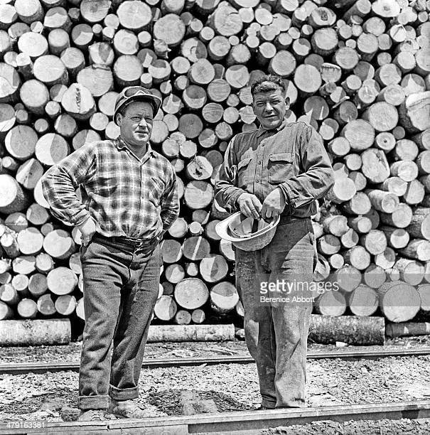 Two workmen with a day's work United States circa 1950 Abbott took two series of logging photographs the first in the High Sierra Mountains in 1943...