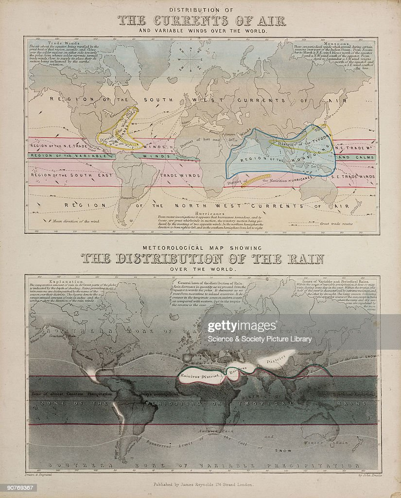 Two world maps  The Currents of the Air , showing prevailing and ...