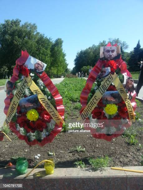 Two wreaths commemorate the people killed in Odessa in Donetsk,Ukraine, 21 May 2014. Almost 50 people were killed in the clased in Odessa. The...