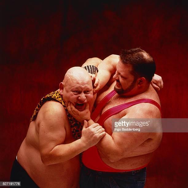Two wrestler in a fight