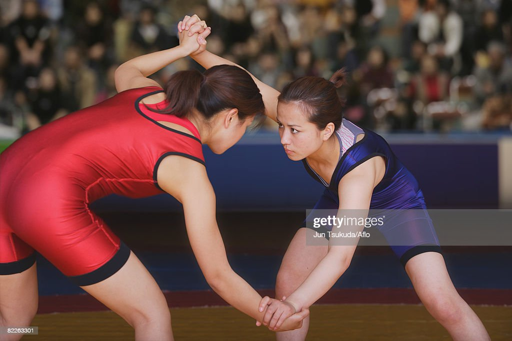 Two Wrestlers Fighting : Stock Photo