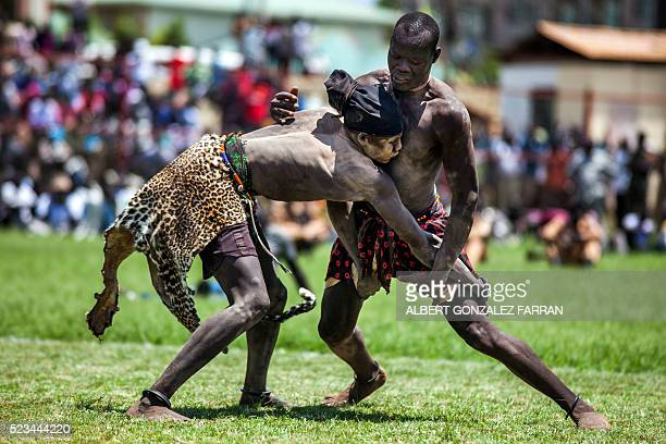 Two wrestlers from Terekeka and Jonglei compete at the final match of the South Sudan National Wrestling Competition at Juba Stadium on April 23 2016...
