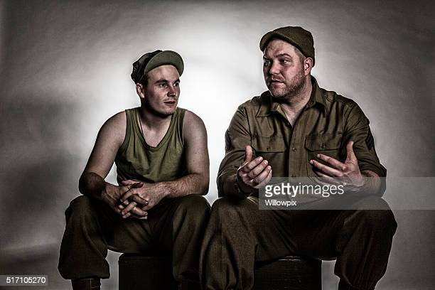 Two WWII US Army Bivouac Soldiers Relaxing Talking