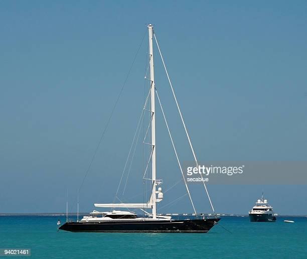 two yachts at anchor