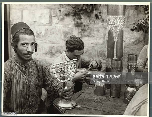 Two Yemenite Jewish men of Jerusalem are working here they are considered to be Damascene workers