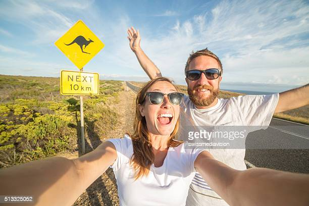 Two young adults take selfie portrait in Australia