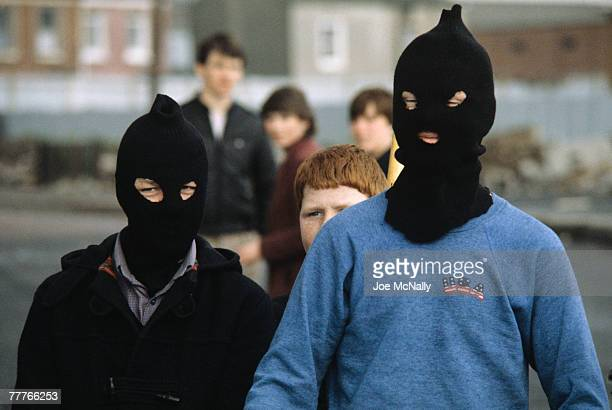 Two young boys wear fully covering face masks in May of 1981 in Northern Ireland Bobby Sands an active member of the Irish Republican Army and leader...