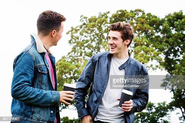 Two young British men enjoying a morning in the park