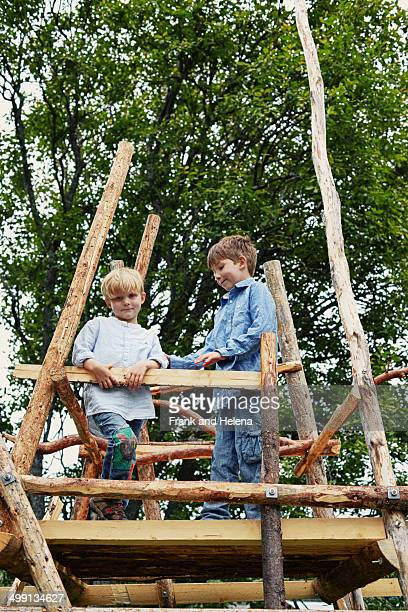 Two young brothers on top of tree house in forest