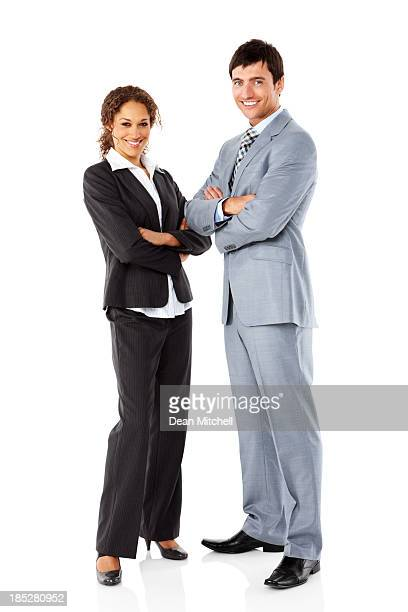 Two young businesspeople on white