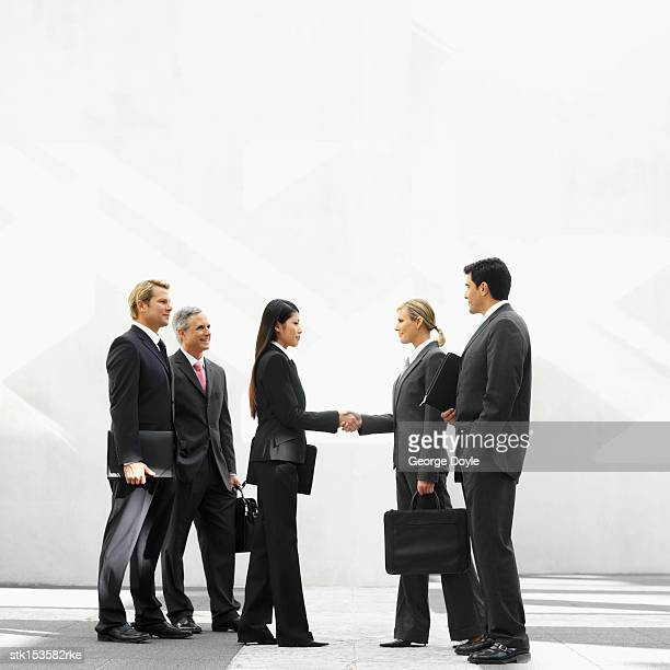 Two young businesswomen shaking hands with business executives beside them