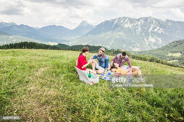 Two young couples enjoying picnic, Tyrol, Austria