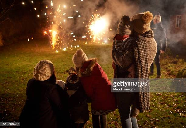 two young families watching fireworks together - fireworks stock pictures, royalty-free photos & images