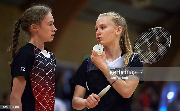 Two young female badminton player discussing the tactics during the Yonex Denmark Junior Youth Badminton Tournament in Paarup Hallen on October 17...