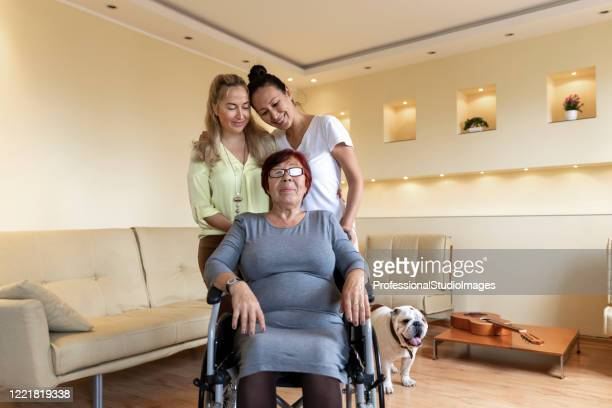 two young female caregivers are helping a disabled older woman in a wheelchair. - chinese bulldog stock pictures, royalty-free photos & images