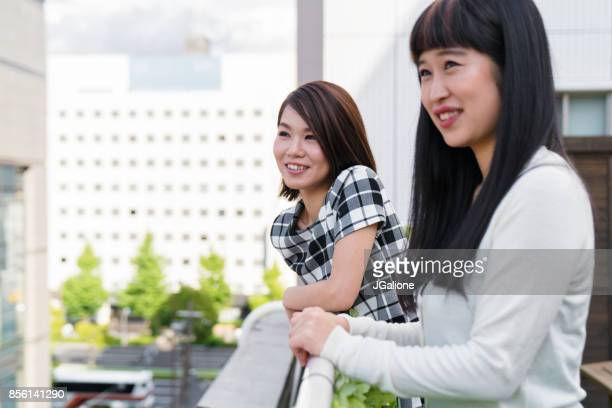 Two young female friends hanging out
