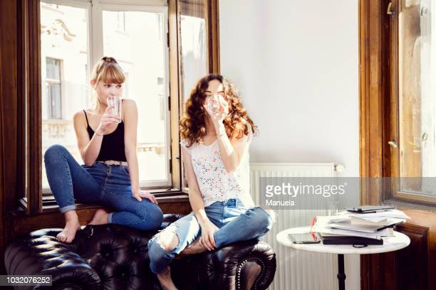 two young female friends sitting on living room armchair drinking water - drink water stock pictures, royalty-free photos & images