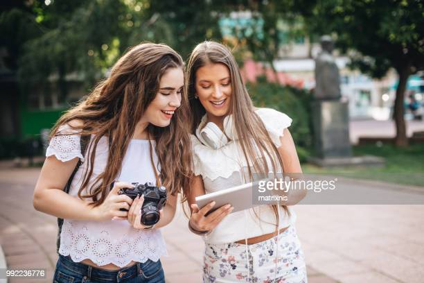 Two young Female tourists in the city