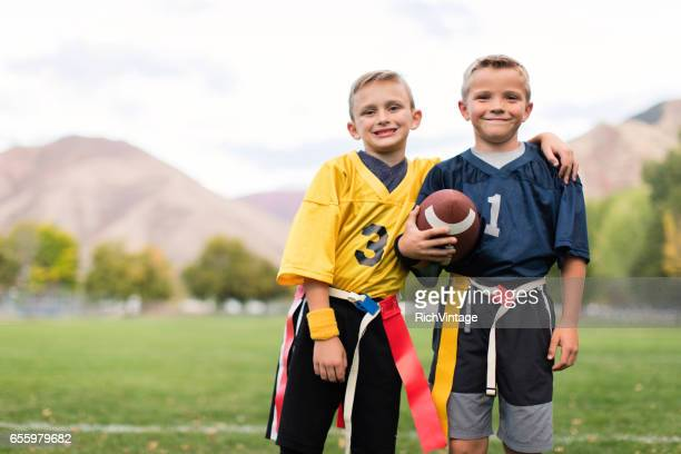Two Young Flag Football Players