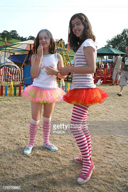 Two young girls dressed as fairies at the Workhouse Festival Wales 2006