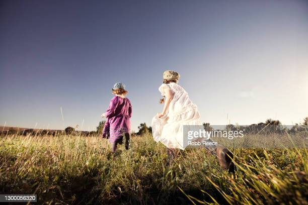 two young girls running in a field - robb reece stock-fotos und bilder