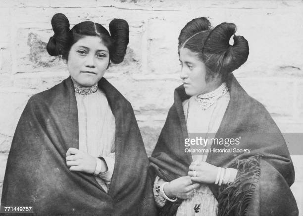 Two young Hopi women 'all dressed up in their best' 1906