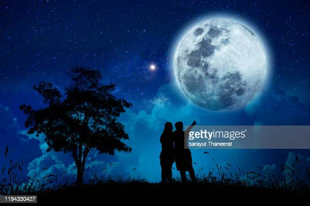 two young lovers are watching the full moon on a starry night. - moonlight lovers stock-fotos und bilder