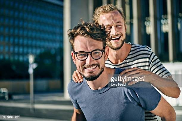 Two young men having fun