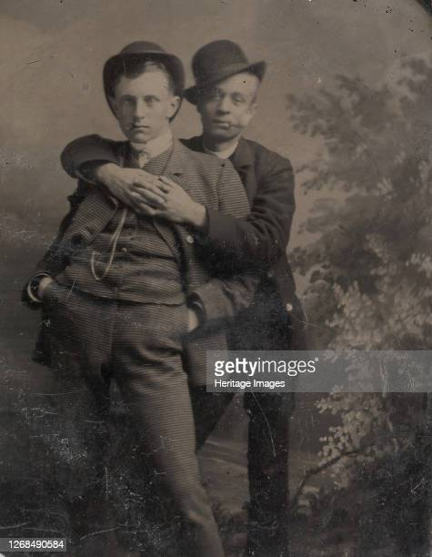 Two Young Men, One Embracing the Other, 1880s. Artist Unknown.