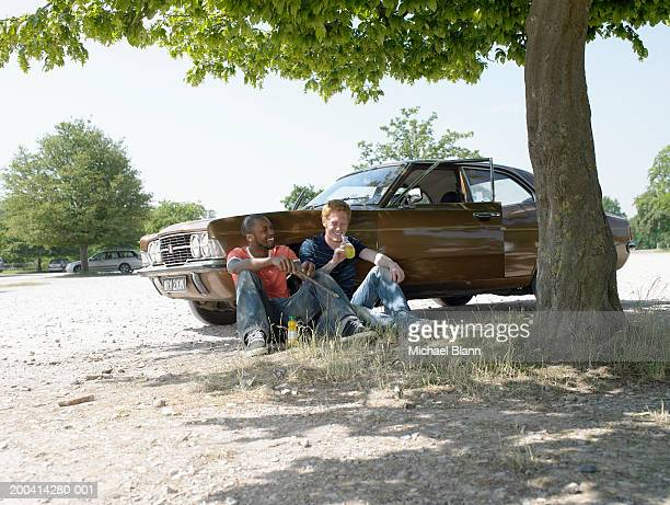 two young men sitting under tree in park, leaning against car, smiling - close to stock pictures, royalty-free photos & images