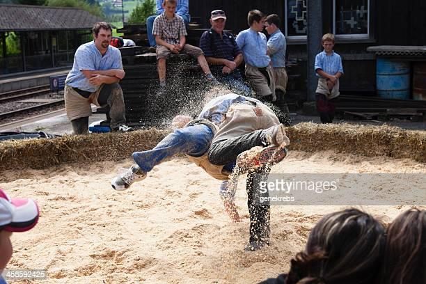 two young men wrestling in boltigen, switzerland - rough housing stock photos and pictures
