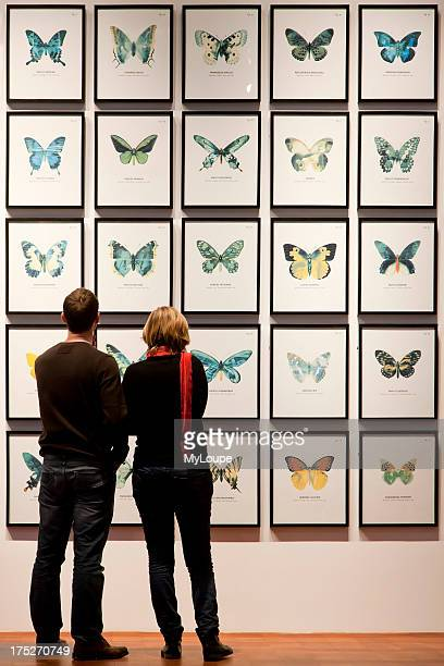 Two young people looking at butterfly drawings