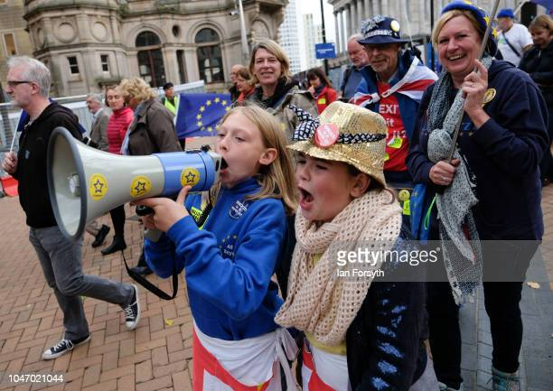 Two young ProEuropean campaigners battling for a second Brexit vote take part in a rally in Birmingham City centre on the first day of the...