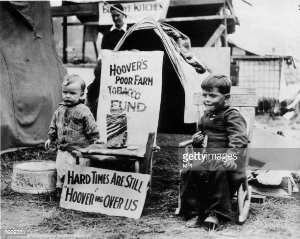 Two young residents at a Hooverville shantytown in Washington DC
