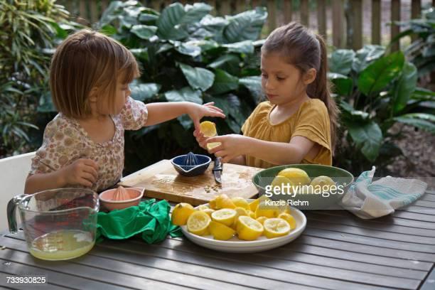 Two young sisters preparing lemon juice for lemonade at garden table