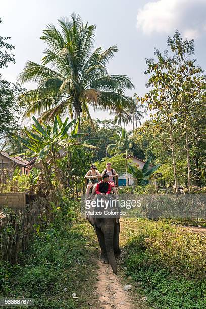 Two young tourists riding an elephant in Laos