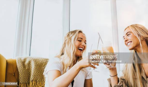 two young woman clink their glasses together in a celebratory toast - cocktail party stock pictures, royalty-free photos & images