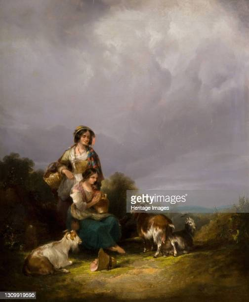 Two Young Women And Goats In A Landscape, 1870. Artist William Shayer. .