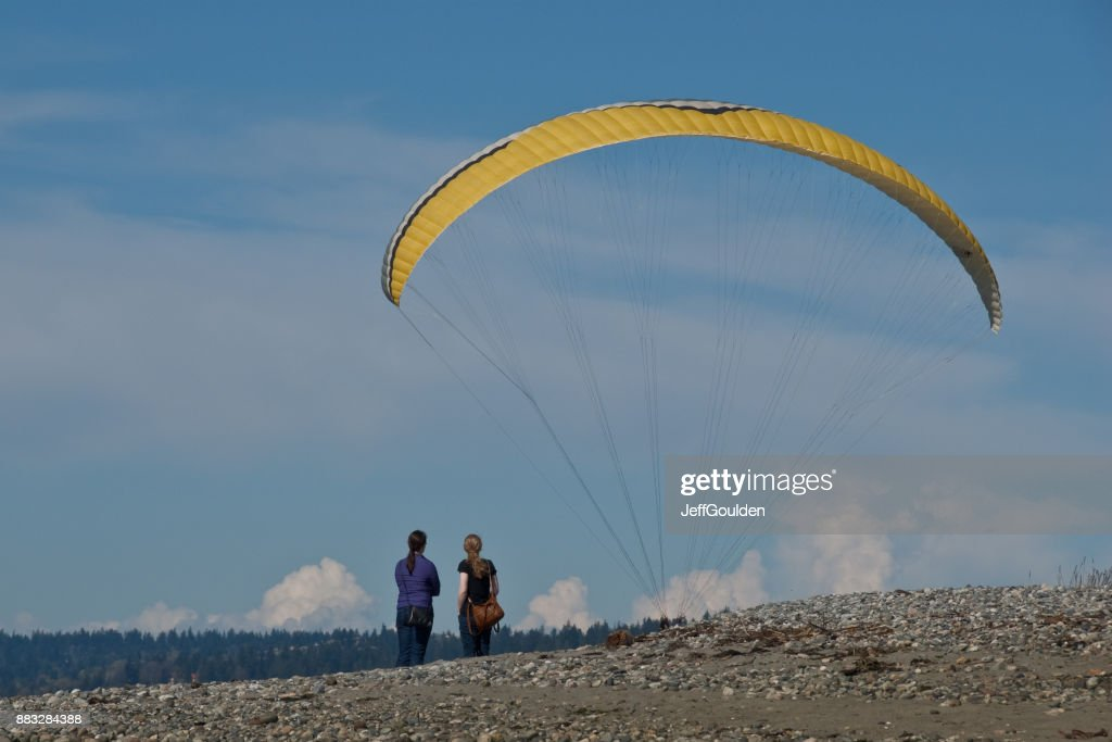 Watching a Paraglider Landing at the Beach : Foto stock
