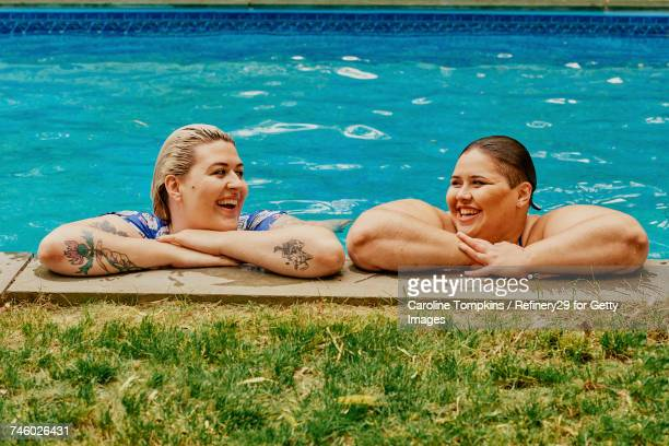 Two Young Women At The Pool