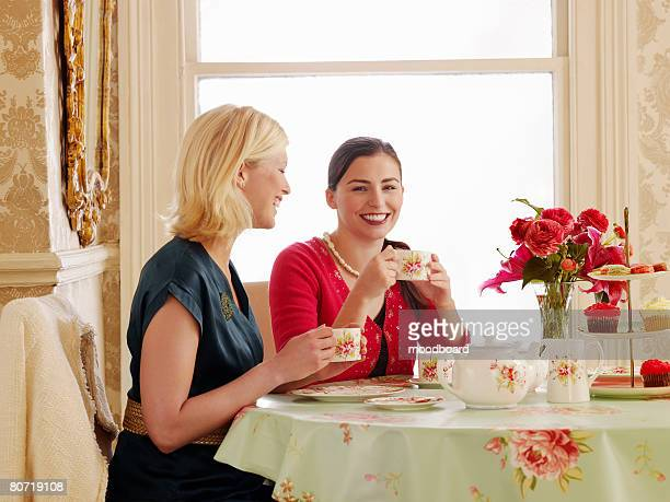 Two Young Women Dining at Tea Room