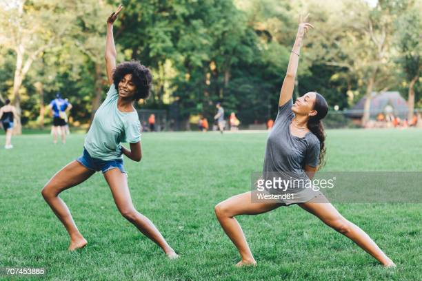 Two young women doing yoga exercise in a park